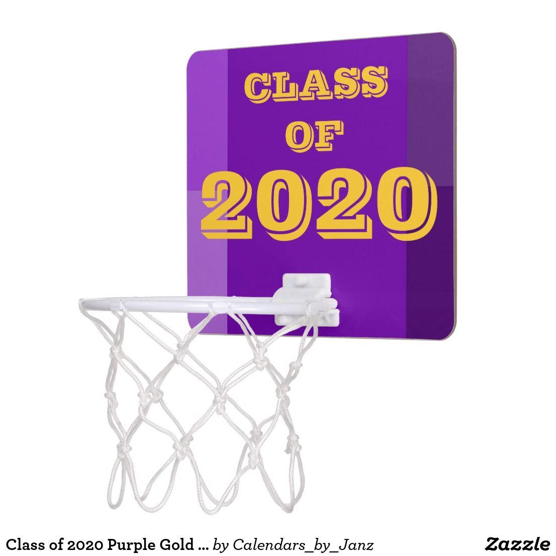 Class of 2020 purple gold basketball hoop by janz zazzle