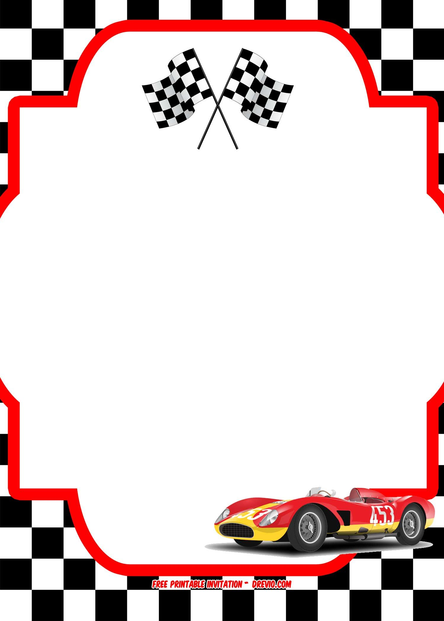 Free race car birthday invitation template printable for Blank race car templates