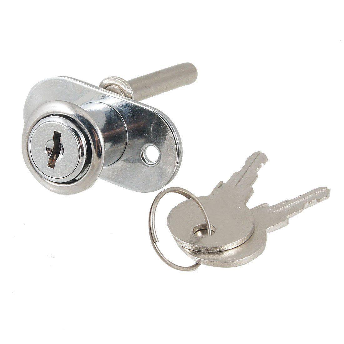 16mm Cylinder Head Diameter Silver Tone Sliding Door Plunger Lock W Keys Plunger Sliding Doors Silver Tone