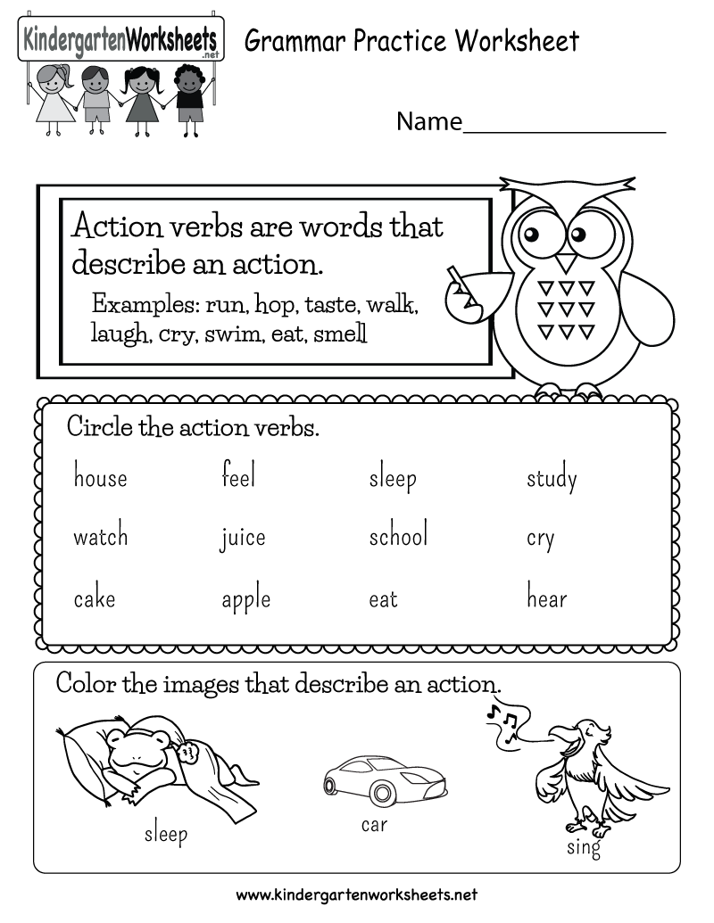 Kids can learn about words that describe action in this free grammar  practice worksheet. It's a fun act…   Verb worksheets [ 1035 x 800 Pixel ]
