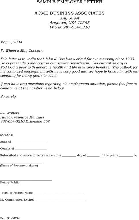 Employment Verification Letter Sample Templates&Forms