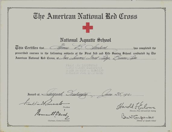 National Aquatic School Vintage Red Cross Certificate for Swimming ...
