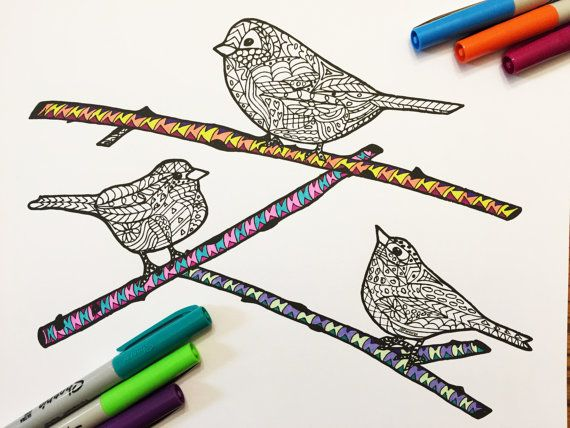 3 Little Birds PDF Zentangle Coloring Page By DJPenscript On Etsy