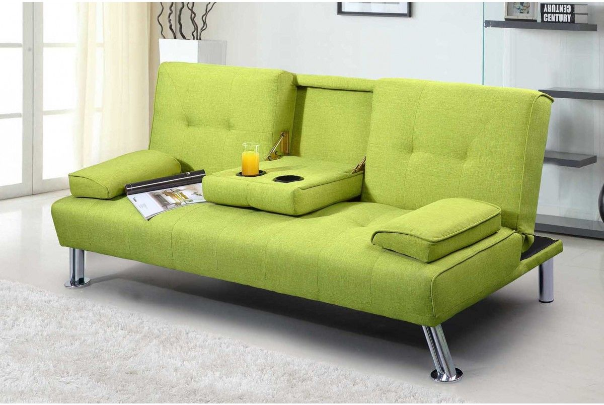 New York Lime Green Fabric Modern 3 Seater Sofa Bed
