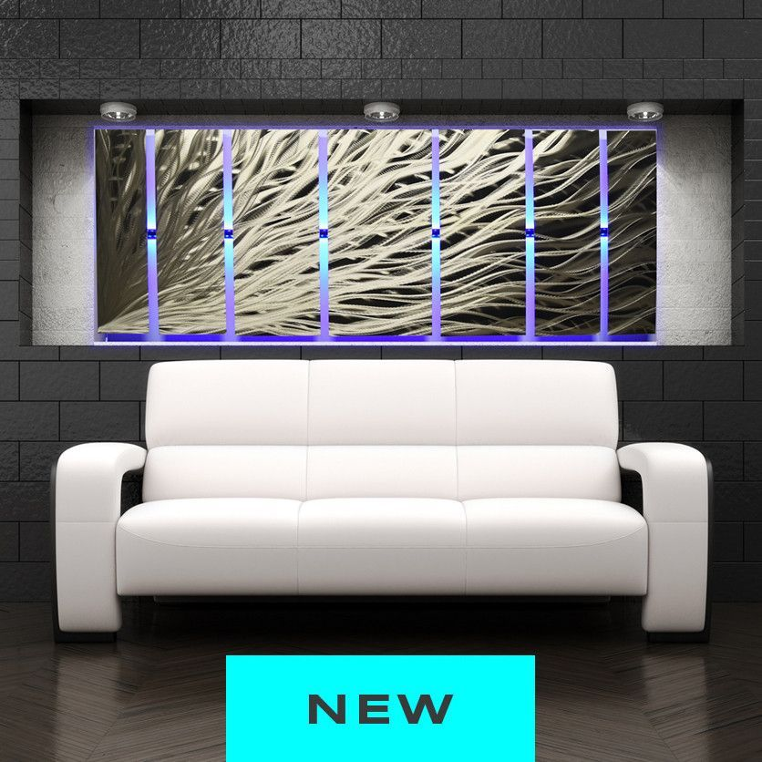 Lighted Metal Wall Art Silver Rush Led See Video Metal Wall