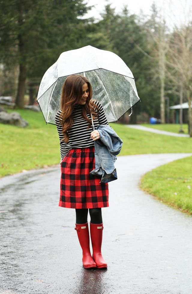 red buffalo plaid skirt, striped turtleneck, denim jacket | Fall ...
