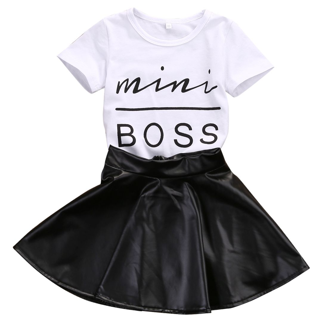 Toddler Baby Girl Summer Skirt Set Heart Top Blouse T Shirt+Zipper Leather Skirt Mini Dress Outfits Set