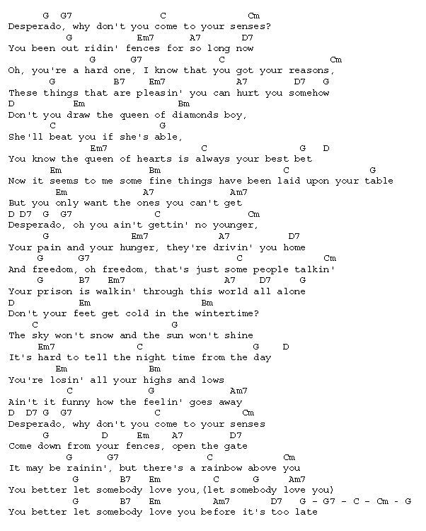 Desperado ~~ by the Eagles ♪♫♪♫ Rock☮Roll ♪♫♪♫ | Learning ...