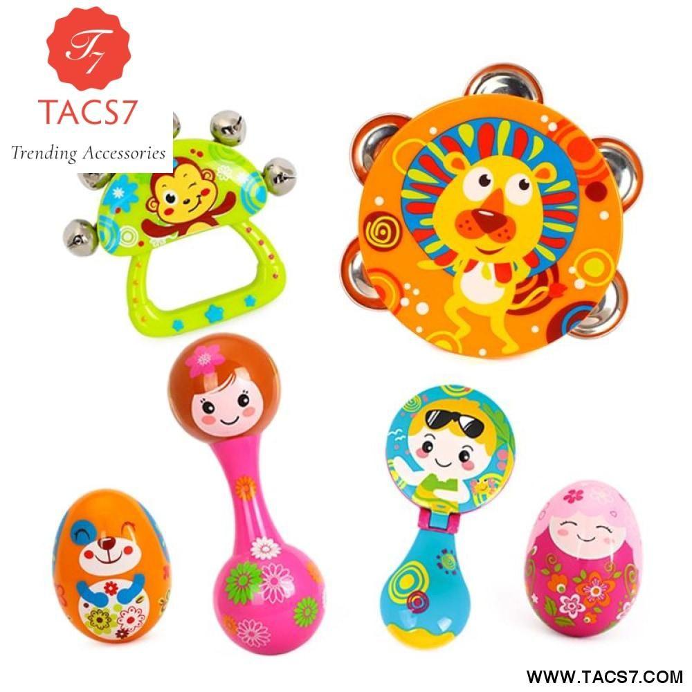 PCSset Baby Toys Handbell Musical Tambourine Toys Cartoon Sand Egg