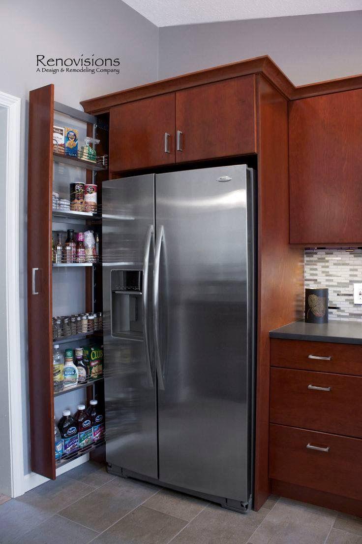 Estante para aprovechar el lateral de la heladera cocina for Como ubicar la heladera en la cocina