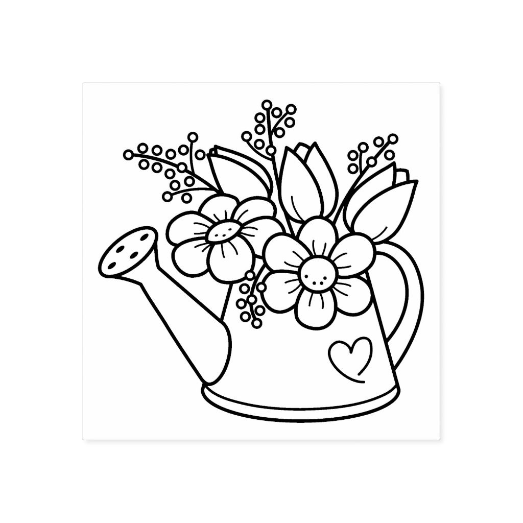 Garden Watering Can With Flowers Rubber Stamp Zazzle Com Flower Coloring Pages Coloring Pages Embroidery Patterns