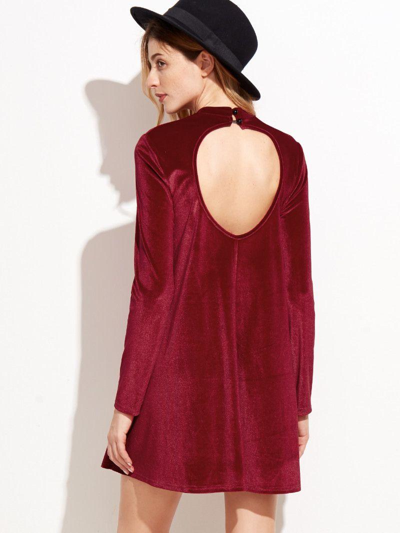 Red velvet backless long sleeve shift dress pinterest red velvet