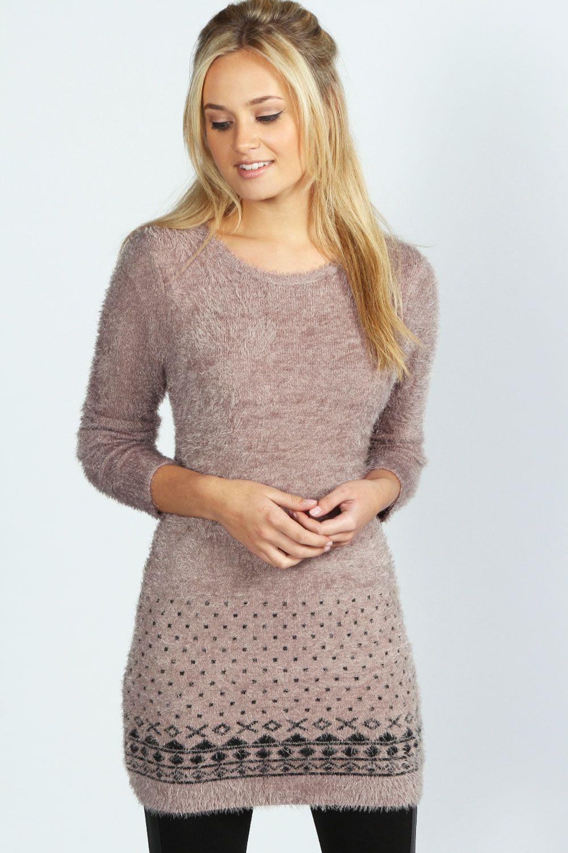 Jasmyn Fluffy Knit Aztec Trim Tunic Jumper Dress--Perfect for Fall ...