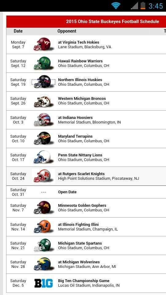 *2015 Buckeye Football Schedule*