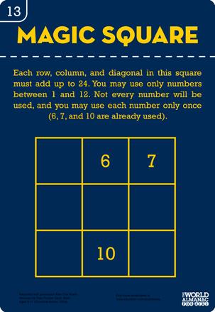 Magic Square Number Puzzle