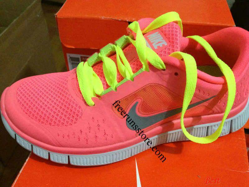 124b092bf0e4 Womens Nike Free Runs 3 Hot Punch Reflective Silver Sol Volt Lace Shoes   Nike  Free