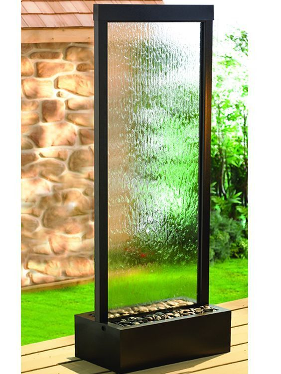 7 5 Gardenfall Clear Glass And Black Oxide Fountain With Led