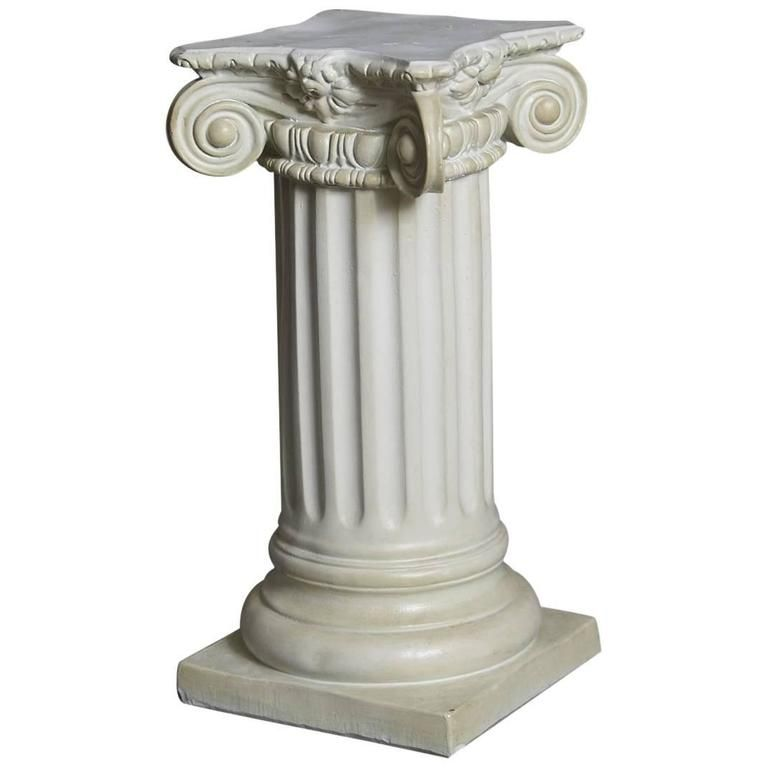 Greek Style Plaster Pedestal or Column with Chapiteau in New Ionic