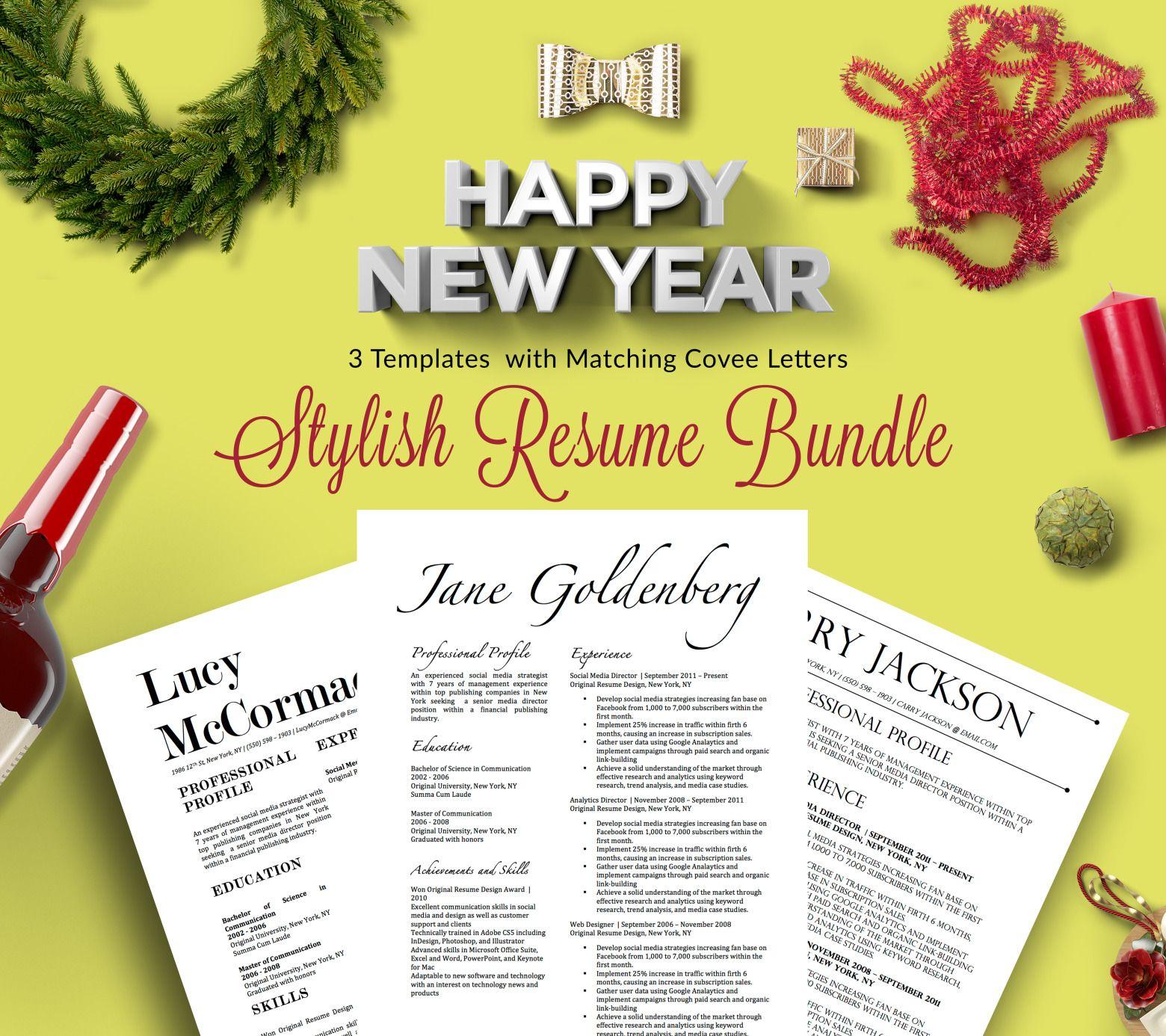 Stylish Resume Bundle 3 Beautiful Resume Designs With Match