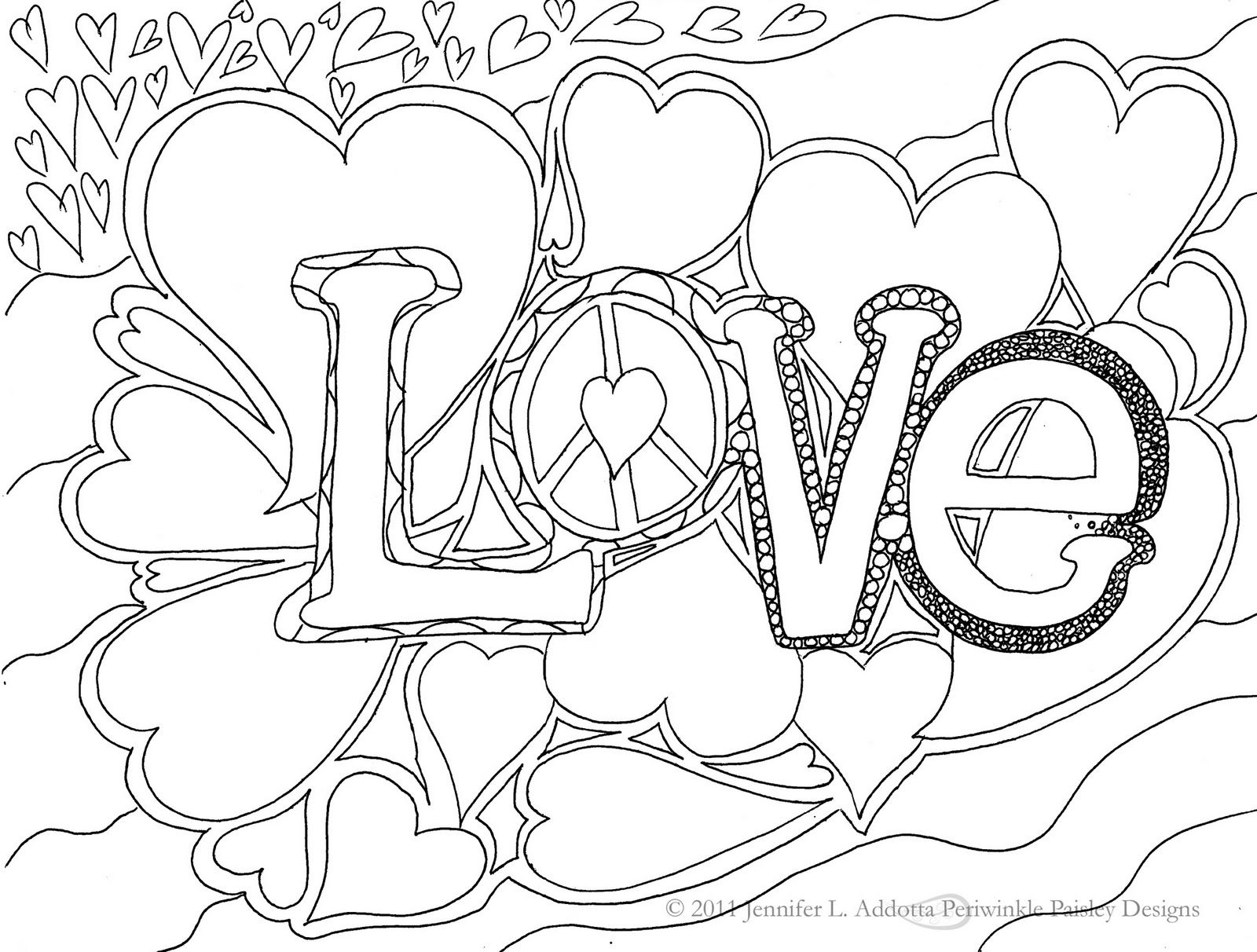 Coloring pictures for adults - American Hippie Art Coloring Page Love