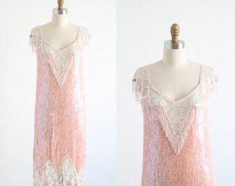 Gatsby Dress Flapper 1920s Art Deco Pink Sequined Beaded