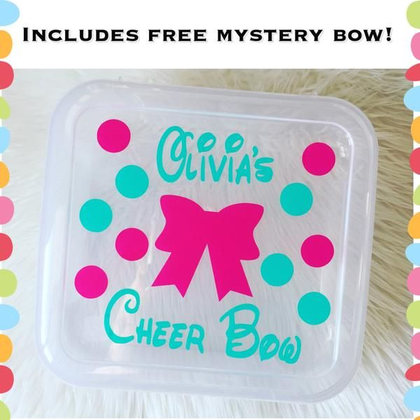 Personalized Cheer Bow Box Holder Includes Free Mystery Bow Free
