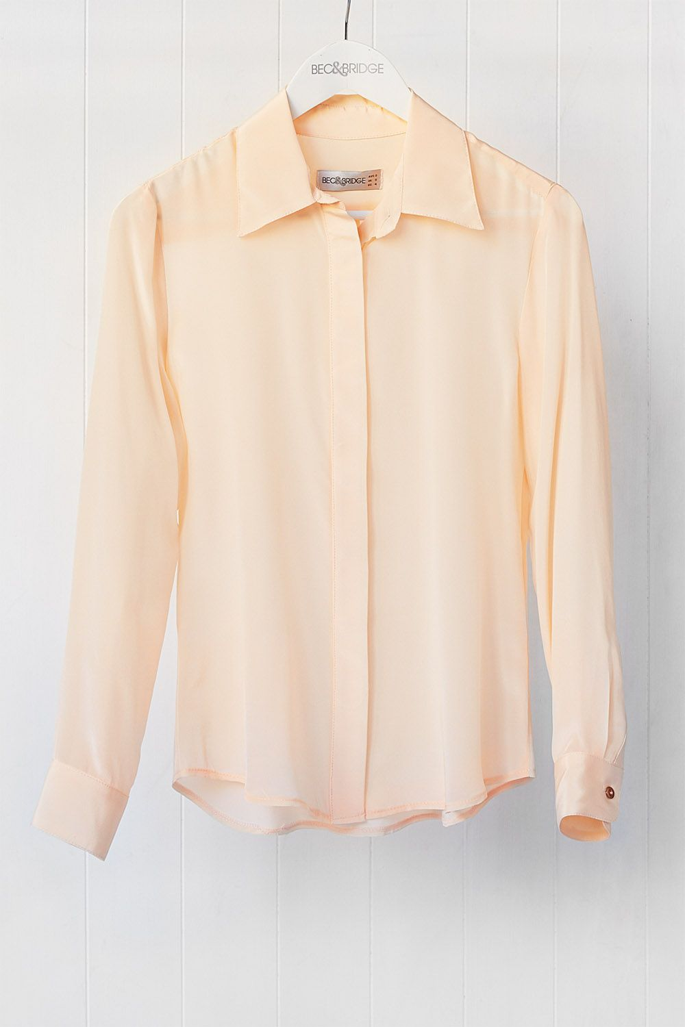 Sabine Silk Shirt in apricot (also available in Mint), available from becandbridge.com.au x