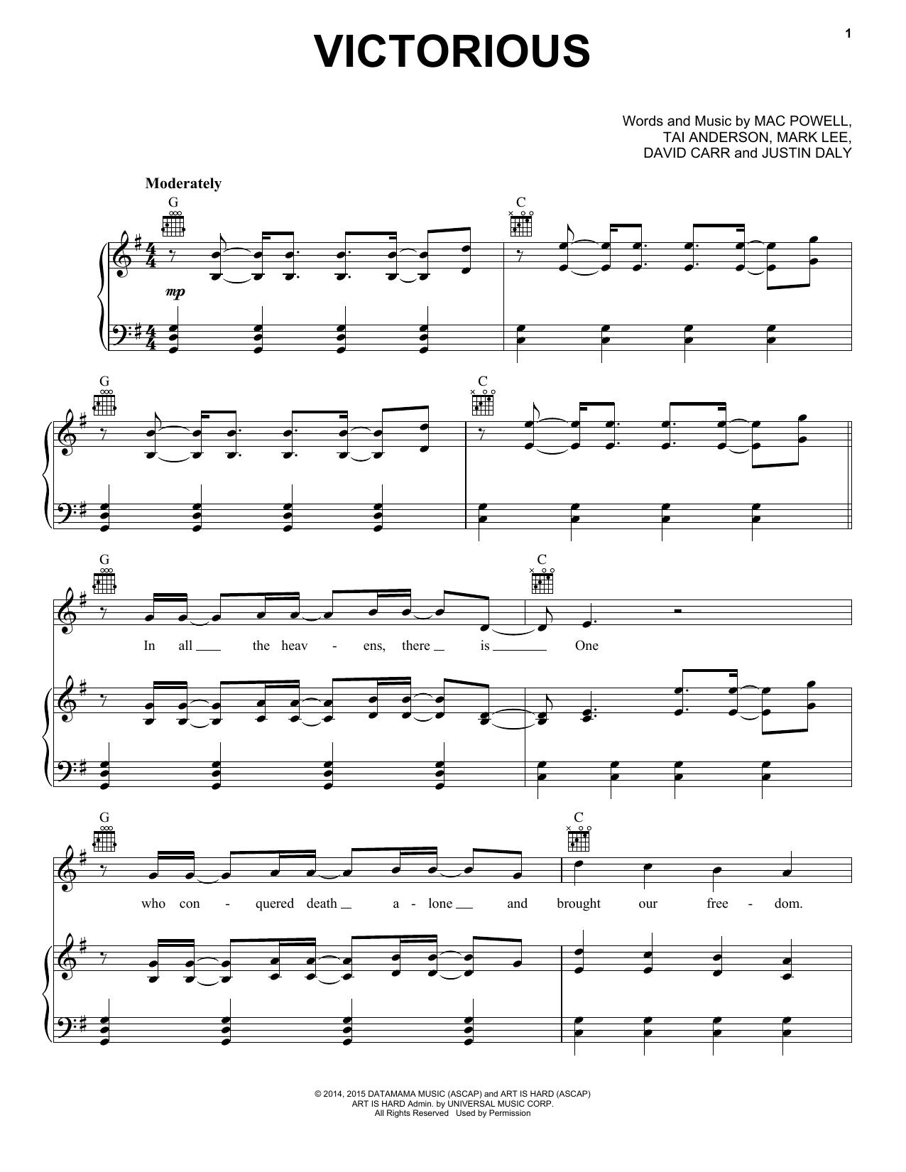 Third Day: Victorious - Partition Piano Voix Guitare (Mélodie Main Droite) - Plus de 70.000 partitions à imprimer !