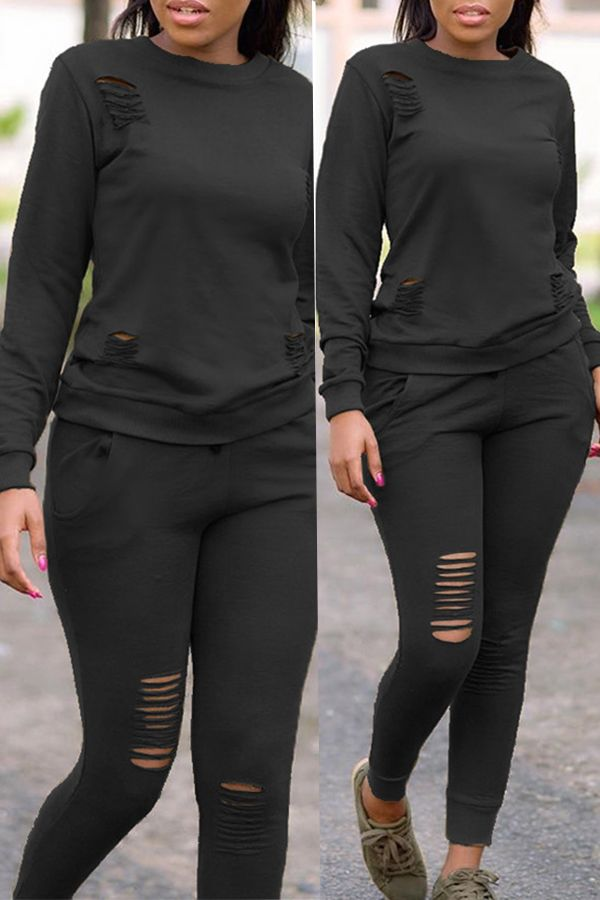 54c5c589b8a Lovely Casual Long Sleeves Broken Holes Black Two-piece Pants Set ...