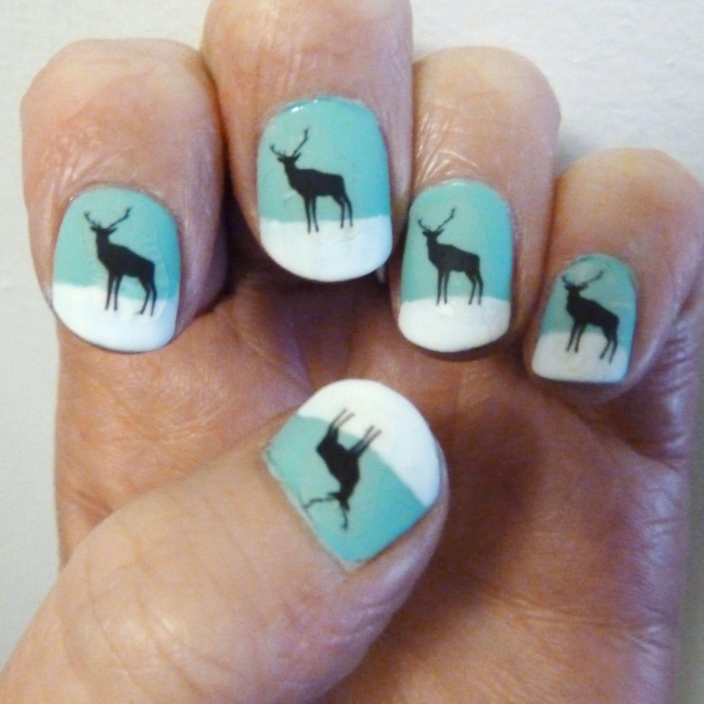 deer nail stickers with matt top coat | Nail Art | Pinterest | Deer ...