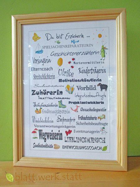 Danksagungskarten - Danke-Bild, Erzieherin, Kindergärtnerin, A4 - ein Designerstück von blattwerkstatt bei DaWanda