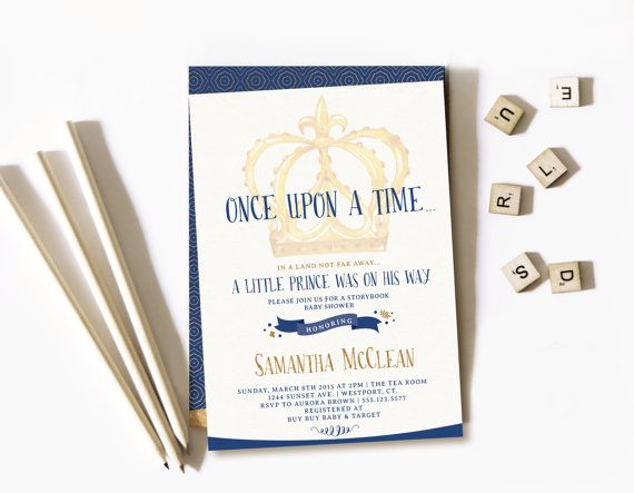 A Little Prince Is On His Way, Once Upon A Time Boy Baby Shower Invitations,  Prince Themed Baby Shower Invitation, Navy And Gold