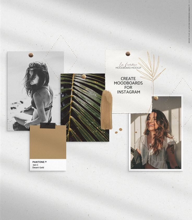 The La Femme moodboard mockup is a scene creator which allows you to create stunning moodboards and collages for clients and social media within minutes. Created by Skyla Design #moodboard #mockup #scene #creator #gold #feminine #collage #leaves #natural
