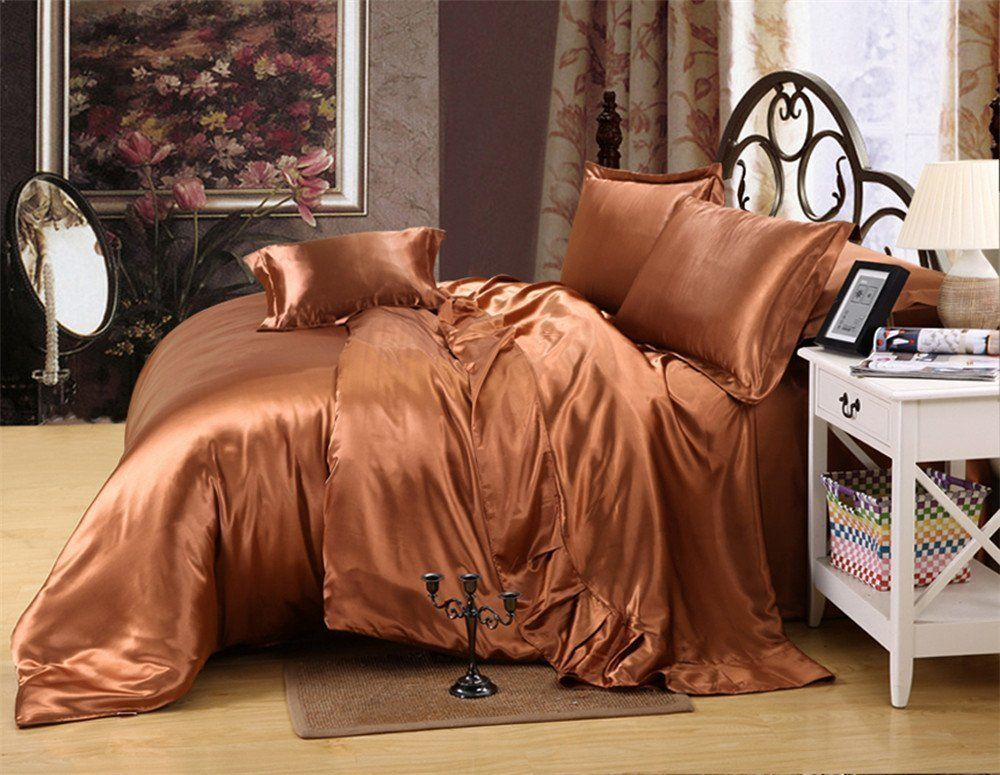 Reliable Bedding Luxurious Ultra Soft Silky Satin 6 Piece Bed Sheet Set  Olympic Queen,