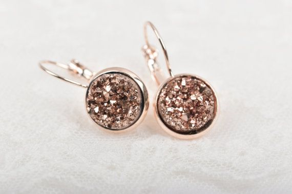Rose Gold Druzy Earrings Copper Sparkle Bridal Bridesmaid Faux Jlr0048
