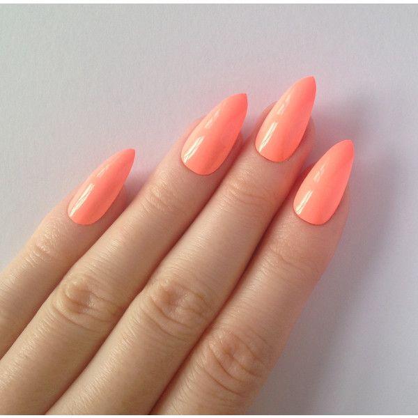 Neon Peach Stiletto Nails Nail Designs Nail Art Nails Stiletto