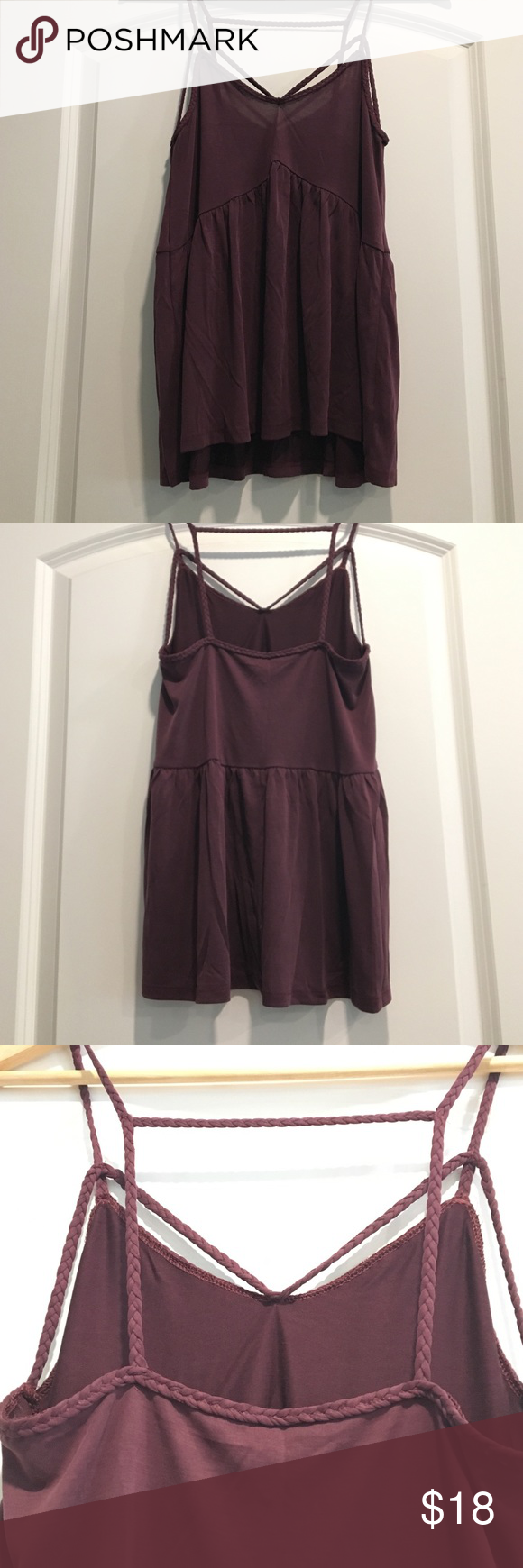 Strappy Tank Top Plum colored tank top from the soft and sexy collection from American Eagle, never worn without tag American Eagle Outfitters Tops Tank Tops