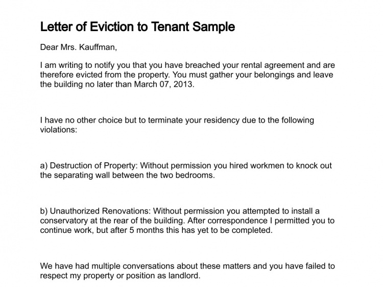 letter of eviction to tenant eviction notice letter legal