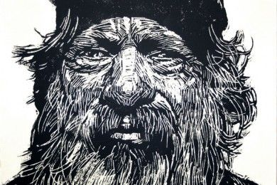 Juan, 63, part of San Diego artist Neil Shigley's series of large plexiglas block prints representing the homeless in his area.