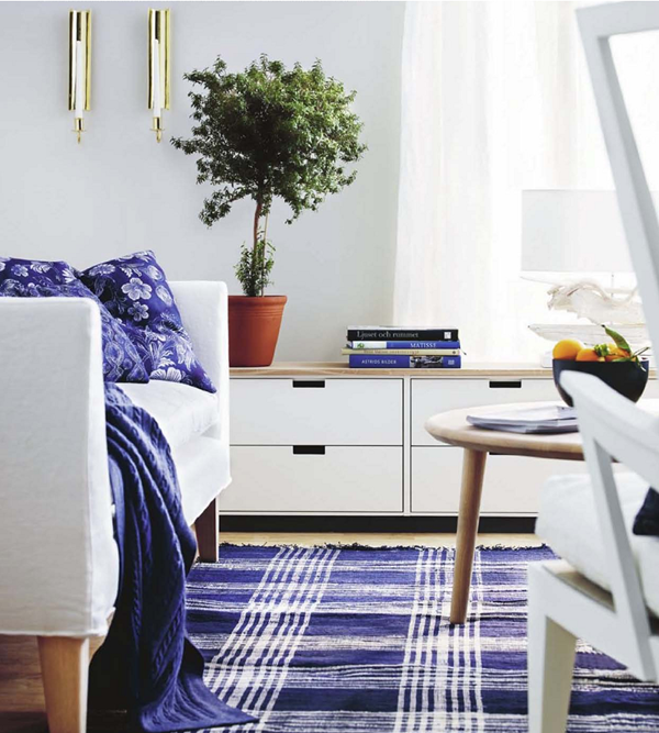 blue and white rug and accents