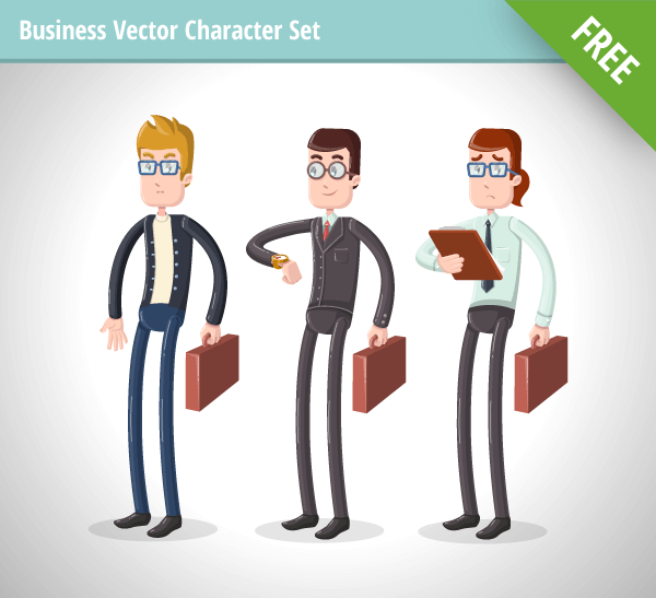 A Business Vector Character Set that includes 3 different types of