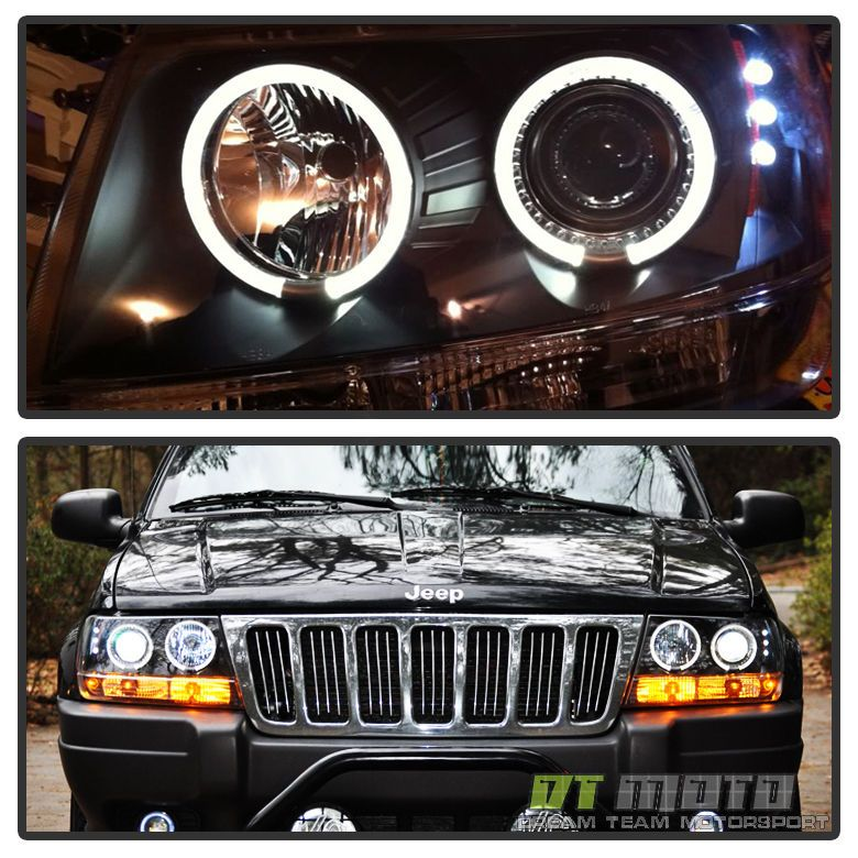 Black 1999 2004 Jeep Grand Cherokee Led Dual Halo Projector