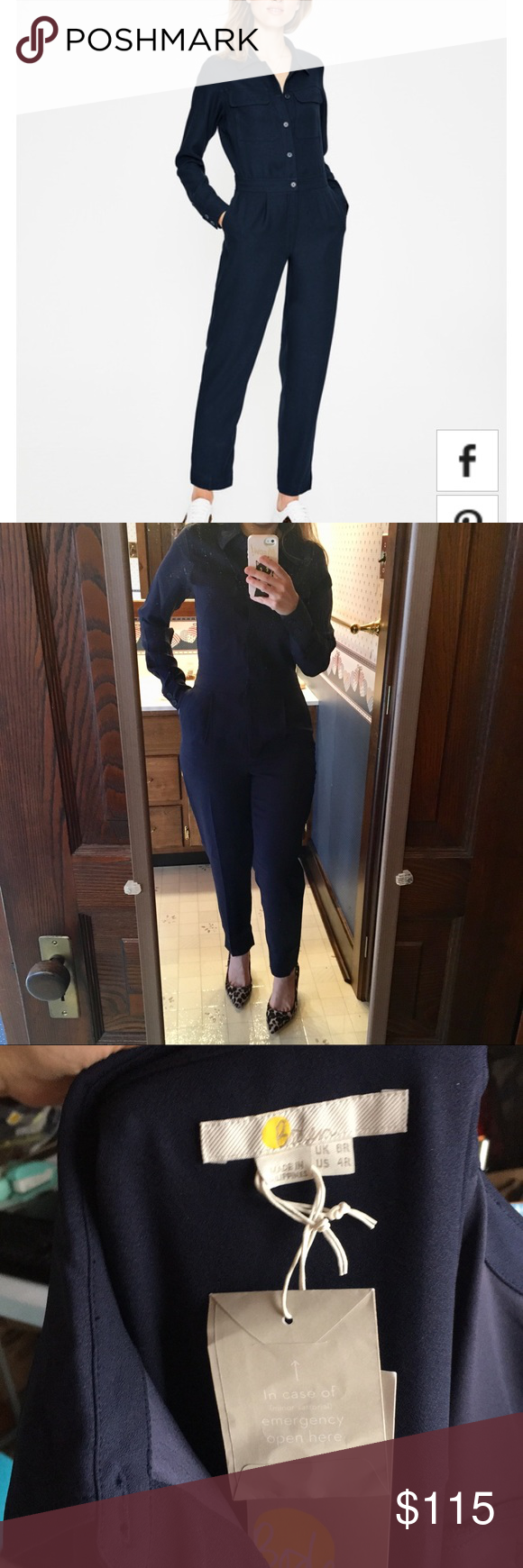 bbc5e8379a7 New Boden Zada jumpsuit long sleeve navy 4 New with tags. Zada long sleeve  jumpsuit with pockets and zip fly and front buttons for easy on and off.