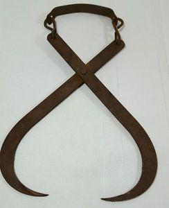 Antique Iron Hay Hook Tongs Ice Block
