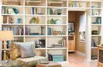 built-in bookcase over/around door