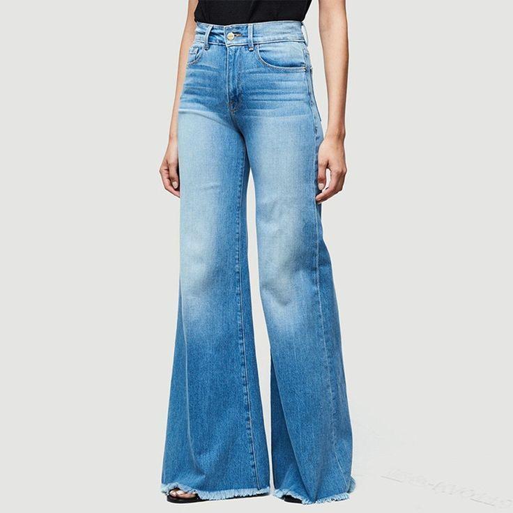 Pantalones Acampanados De Mezclilla De Moda Para Mujer Pantalones Vaqueros Rasgados Retro Pantal Pantalones Acampanados Pantalones Vaqueros Rasgados Pantalones
