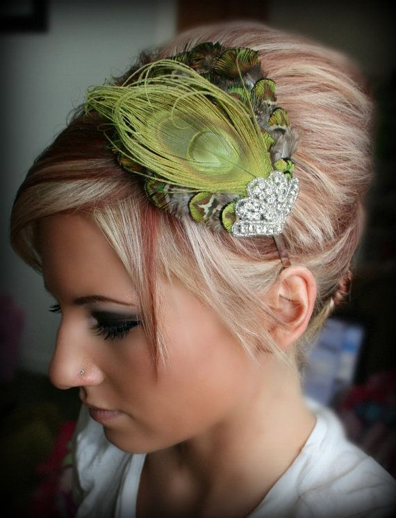 Green Peacock Rhinestone Feather Headband Feather by BrassLotus