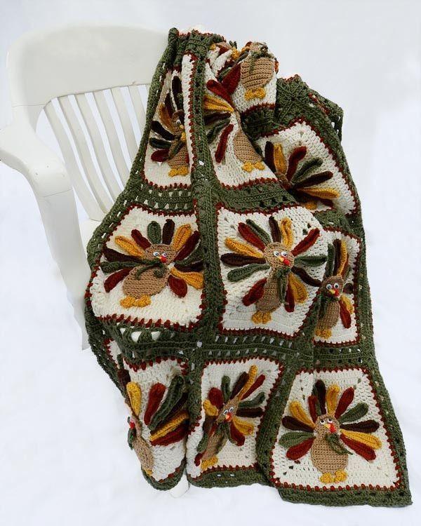Crochet Blanket Turkey Pattern 2014 Fall Thanksgiving - Wood Chair, Thanksgiving Blanket, Thanksgiving Tablecloth