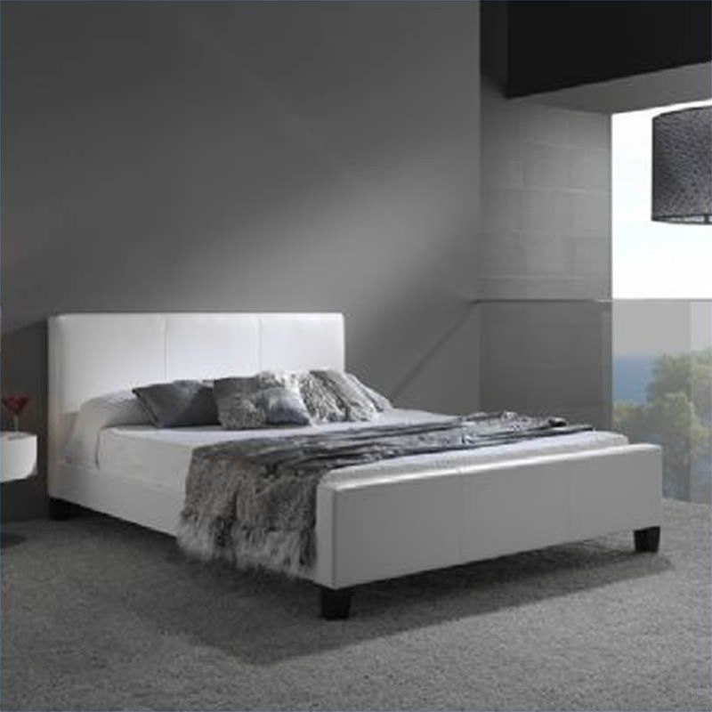 Euro Leather Platform Bed In White Synthetic Leather Home - Logan-leather-bed-with-adjustable-headboard