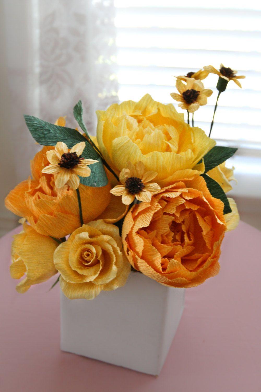 1 Yellow Shade Peonies Centerpiece Paper Flowers Wedding